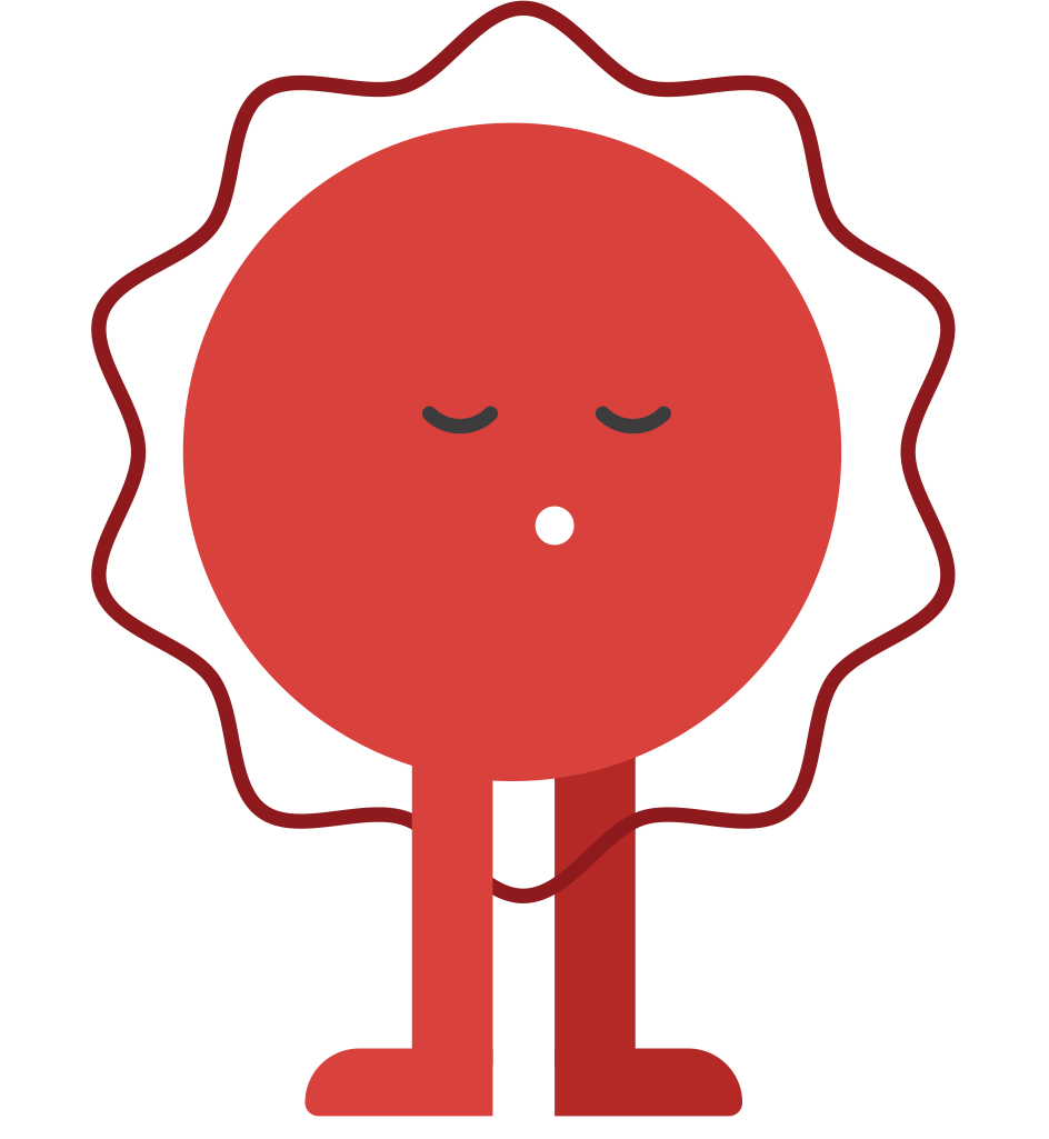 Image of red circular icon standing for mental health