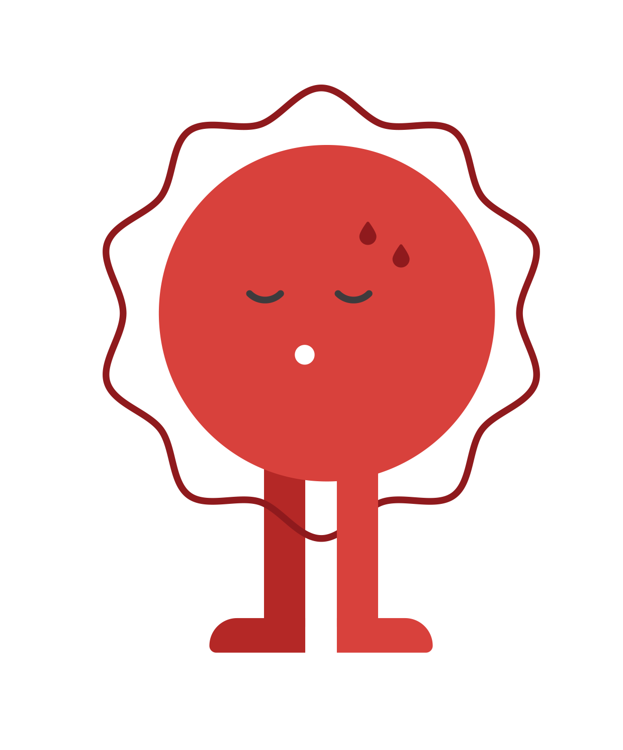 Image of a red circular stress management icon